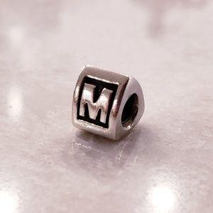 Authentic Pandora Retired Block Letter M Charm